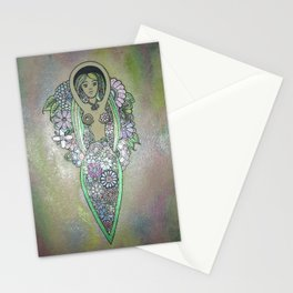 Pearlescent floral spiral goddess Stationery Cards