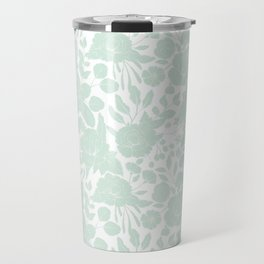 Vintage elegant pastel green white stylish floral Travel Mug
