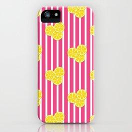 Lemon Slices on Hot Pink Stripes iPhone Case