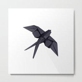 Origami Swallow Metal Print