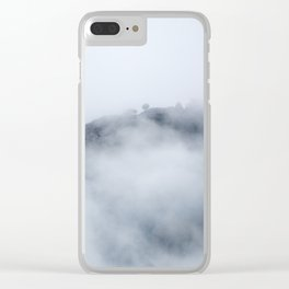 Trees through the foggy mountains Clear iPhone Case