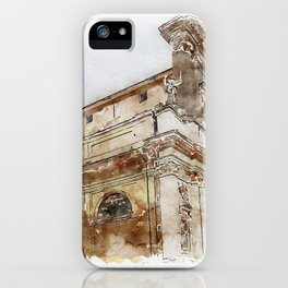 Aquarelle sketch art. View to the historical buildings iPhone Case