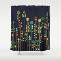 flowers Shower Curtains featuring Overgrown flowers by Picomodi