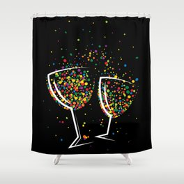 Happy colorful drink Shower Curtain