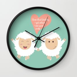 Happy Sheep Couple - I love that feeling I get when I see your smile - Happy Valentines Day Wall Clock