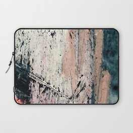 Kelly: a bold, textured, abstract mixed media piece in bright pinks, blues, and white Laptop Sleeve