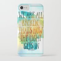 hemingway iPhone & iPod Cases featuring We are All Broken Ernest Hemingway Quote by Ginkelmier
