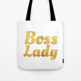 Boss Lady in Cursive Gold Tote Bag