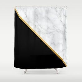 Marble, Black, White, Gold, Abstract Color Block Shower Curtain