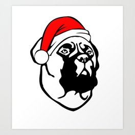 Bullmastiff Dog with Christmas Santa Hat Art Print