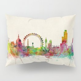 London Skyline Watercolor Pillow Sham