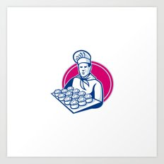 baker serving tray of pork meat pies retro Art Print
