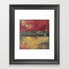 Metallic Square Series I - Red and Gold Urban Abstract Painting Framed Art Print