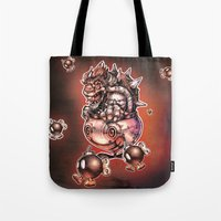 bombs away Tote Bags featuring BOMBS AWAY BOWSER by Tim Shumate