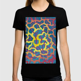 abstract blue and yellow canvas T-shirt