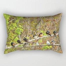Spring Migration Fallout; 4 swallow species, 1 branch Rectangular Pillow
