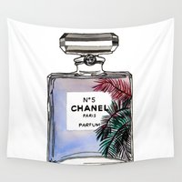 perfume Wall Tapestries featuring Palm tree perfume fashion illustration  by Cinnamoncafexx