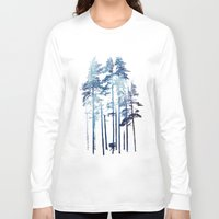 wolf Long Sleeve T-shirts featuring Winter Wolf by Robert Farkas