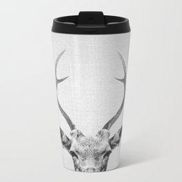 Deer - Black & White Metal Travel Mug