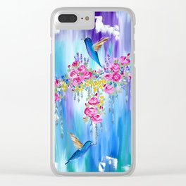 Roses and Hummingbirds in Love Clear iPhone Case