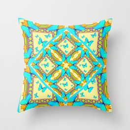 Western Style Turquoise Butterflies Creamy Gold Patterns Art Throw Pillow