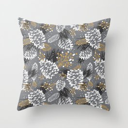Festive Forest - Grey Throw Pillow