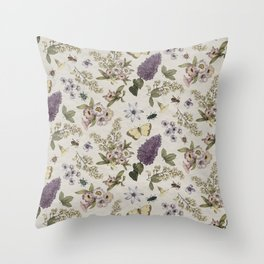 spring flowers with butterfly and beetles II Throw Pillow
