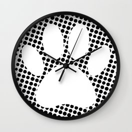 Dog Paw Print With Halftone Background Wall Clock