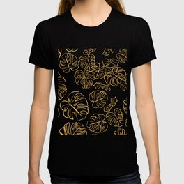 Monstera Jungle Golden large Leaves Marigold Yellow & Rust palette_vector drawing  T-shirt