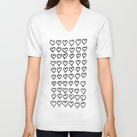 hearts V-neck T-shirts featuring Hearts  by Geryes