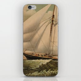 Vintage Schooner Yacht Illustration (1882) iPhone Skin