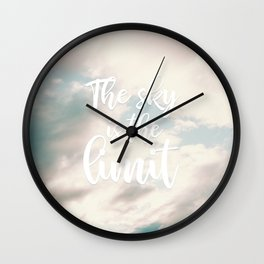 Modern the sky is the limit motivation typography clouds photography Wall Clock