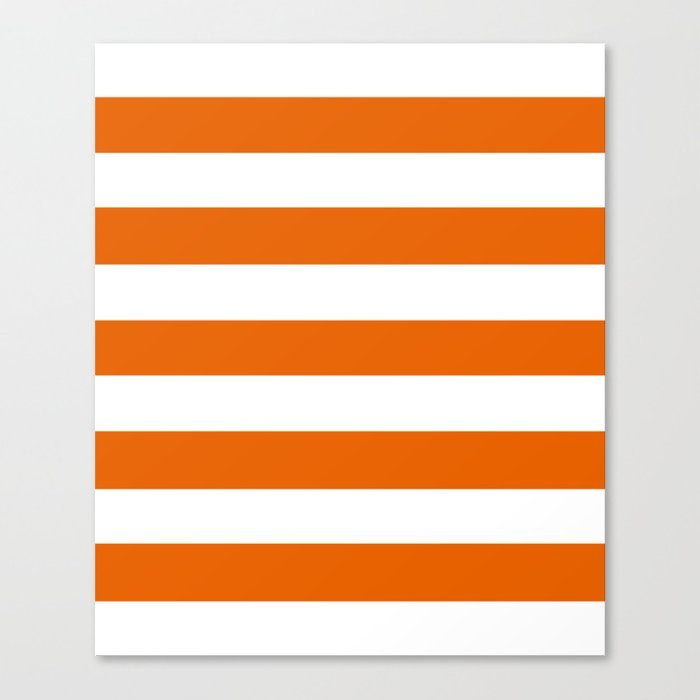 Spanish Orange Solid Color White Stripes Pattern Canvas Print By