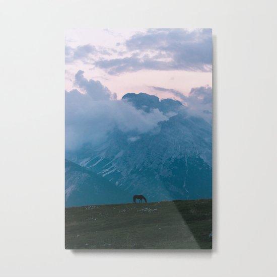 Mountain Sunset Horse - Landscape Wildlife Photography Metal Print