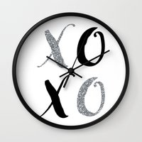 xoxo Wall Clocks featuring XOXO by Indulge My Heart
