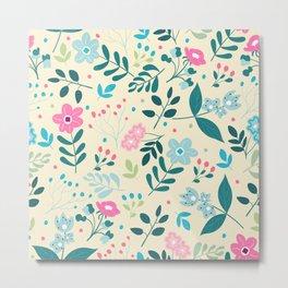 Colorful Floral Pattern - Beige Metal Print