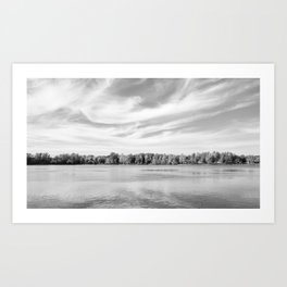 Clouds Above The Lake in Black and White Art Print