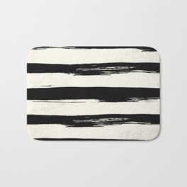 Tribal Paint Stripes Black and Cream Bath Mat