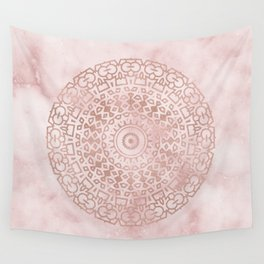 Misty pink marble rose gold mandala Wall Tapestry