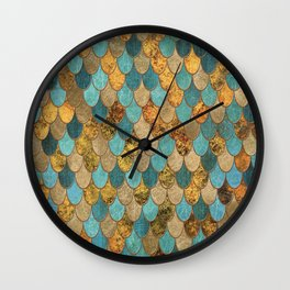 Oceanic Blue Gold Mermaid Scales HJYLY Wall Clock