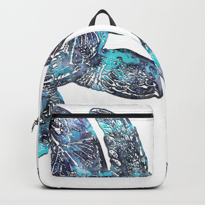 Sea Turtle Blue Watercolor Art Backpack