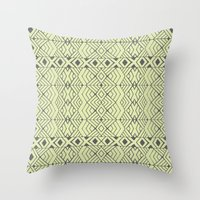 lime green Throw Pillows featuring Lime Green Aztec by Pom Graphic Design