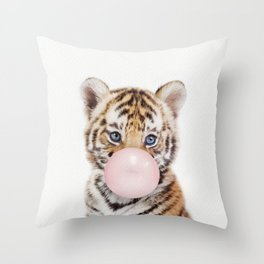 Bubble Gum Tiger Cub Throw Pillow
