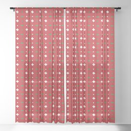 Christmas vector green and white horizontal and vertical stitches aligned on red background seamless Sheer Curtain
