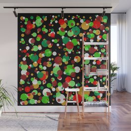 Numerous bubbles of different sizes of Christmas colors Wall Mural