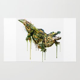 Alligator Watercolor Painting Rug