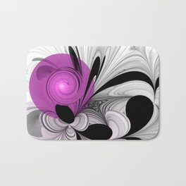 Abstract Black And White With Orchid Bath Mat