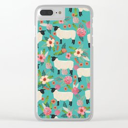 Suffolk Sheep farm floral cute animals sheep lover nature florals pattern homestead gifts Clear iPhone Case