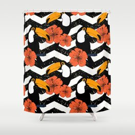 Chevron patter with cute toucans Shower Curtain