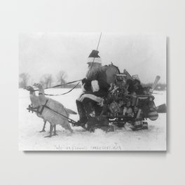 Santa and His Turkey Reindeer Metal Print